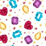 Ejemplo del vector del modelo de las gemas de los simles Ruby, topacio, ópalo, aguamarina Regalo, decoración, tarjeta, certificad ilustración del vector