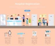 Ejemplo del vector del mostrador de inscripción del hospital stock de ilustración