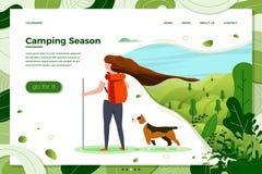 Ejemplo del vector - muchacha con la mochila y el perro ilustración del vector