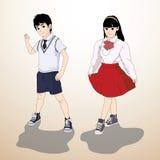 Ejemplo del vector - muchacho y muchacha Imágenes de archivo libres de regalías