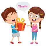 Ejemplo del vector del niño que da el regalo a su amigo ilustración del vector