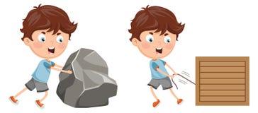 Ejemplo del vector del niño que empuja y que tira Foto de archivo libre de regalías