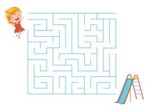 Ejemplo del vector del niño y del laberinto de la diapositiva Imagen de archivo