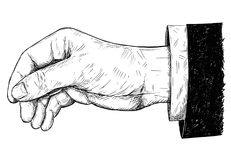 Ejemplo del vector o dibujo artístico de la mano que lleva a cabo algo fino entre los fingeres del pellizco Imagen de archivo libre de regalías