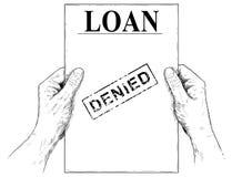 Ejemplo del vector o dibujo artístico de las manos que llevan a cabo el documento negado del uso de préstamo stock de ilustración