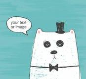 Ejemplo del vector del oso blanco lindo con el sombrero y la corbata de lazo que piensa alrededor en un fondo del rasguño fotografía de archivo