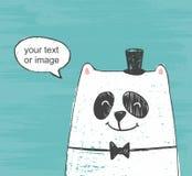 Ejemplo del vector del oso blanco lindo con el sombrero y la corbata de lazo que piensa alrededor en un fondo del rasguño fotografía de archivo libre de regalías