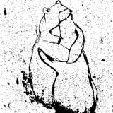 Ejemplo del vector para el día de tarjetas del día de San Valentín con dos osos de abrazo Fotos de archivo libres de regalías