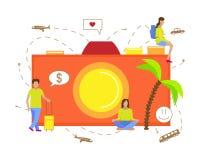 Ejemplo del vector para el turismo Pequeños hombres que viajan con la cámara libre illustration