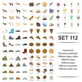 Ejemplo del vector del perro, raza, dinosaurio, tipo prehistórico, diverso sistema del icono de la nuez de las montañas de la piz ilustración del vector