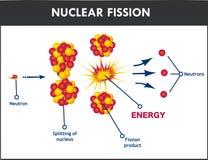 Ejemplo del vector del proceso de la fisión nuclear ilustración del vector