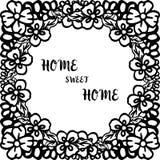 Ejemplo del vector que pone letras al hogar dulce casero con el marco de la flor del vintage ilustración del vector