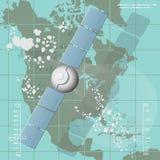 Ejemplo del vector que representa un satélite de comunicaciones Foto de archivo libre de regalías