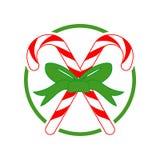 Ejemplo del vector del regalo de la cruz del caramelo de la Navidad Fotos de archivo libres de regalías