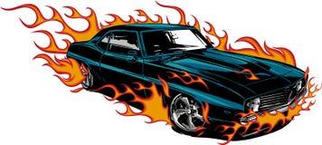 Ejemplo del vector 70s del músculo del coche viejo con las llamas imágenes de archivo libres de regalías
