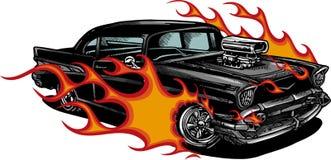 Ejemplo del vector 70s del músculo del coche viejo con las llamas fotografía de archivo