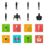 Ejemplo del vector del s?mbolo de la postura y del humor Fije de postura y del s?mbolo com?n femenino para la web stock de ilustración