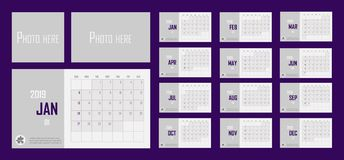 Ejemplo 2019 del vector del sistema del calendario del negocio Las capas agruparon f ilustración del vector