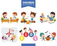 Ejemplo del vector del sistema de las actividades de los niños imagen de archivo