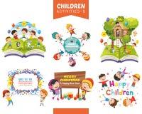 Ejemplo del vector del sistema de las actividades de los niños fotografía de archivo libre de regalías