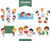 Ejemplo del vector del sistema de las actividades de los niños imágenes de archivo libres de regalías