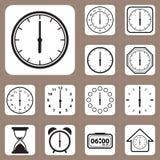 Ejemplo del vector, sistema del icono del reloj para el diseño y W creativo Imagen de archivo