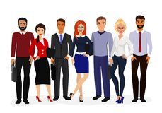 Ejemplo del vector del sistema fresco del vector de caracteres del negocio Equipo internacional del negocio, mujeres de negocios  ilustración del vector