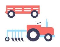 Ejemplo del vector del sistema del tractor del arado de Agrimotor stock de ilustración