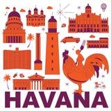 Ejemplo del vector del sistema del viaje de la cultura de La Habana