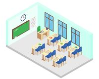 Ejemplo del vector del sitio de clase isométrico de escuela Incluye la tabla, sillas, libros, pizarra en estilo plano de la histo stock de ilustración