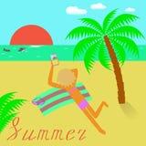 Ejemplo del vector sobre verano Vacaciones de verano en el mar Fotografía de archivo