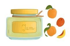 Ejemplo del vector del tarro coloreado con el atasco del albaricoque libre illustration