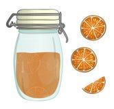 Ejemplo del vector del tarro coloreado con el atasco anaranjado stock de ilustración