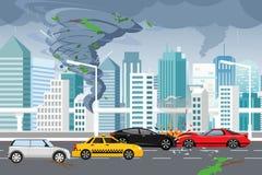 Ejemplo del vector del tornado que remolina y de la inundación, tempestad de truenos en ciudad moderna grande con los rascacielos