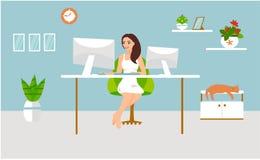 Ejemplo del vector del trabajo independiente La muchacha trabaja en el ordenador y se sienta en la tabla con un gato en su hogar stock de ilustración