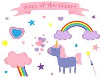Ejemplo del vector del unicornio lindo del rosa y de la lila, corazones, estrellas, nubes, lluvia, arco iris libre illustration