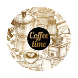 Ejemplo del vector y x22; Time& x22 del café; Fotos de archivo libres de regalías
