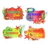 Ejemplo del verano de la acuarela Banderas de la venta con los pescados y las cáscaras stock de ilustración