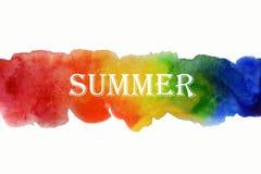 Ejemplo del verano de la acuarela Verano pintado a mano de la inscripci?n del arco iris stock de ilustración