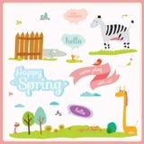 Ejemplo del verano o de la primavera con los animales divertidos Imagenes de archivo