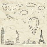 Ejemplo del viaje y del turismo. ilustración del vector