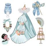 Ejemplo del vintage de la moda - grupo de objetos del vintage - viejos artículos de la moda del siglo stock de ilustración