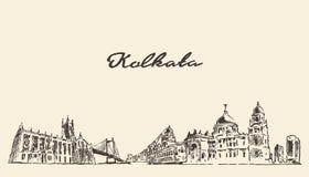 Ejemplo del vintage del vector del horizonte de Kolkata dibujado stock de ilustración