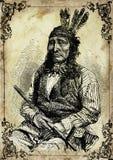 Ejemplo del vintage del nativo americano ilustración del vector