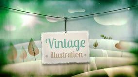 Ejemplo del vintage, paisaje de la magia de los niños Fotos de archivo libres de regalías