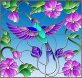 Ejemplo del vitral con el colibrí colorido en el fondo del cielo, del verdor y de las flores Foto de archivo libre de regalías
