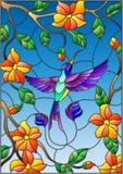 Ejemplo del vitral con el colibrí colorido en el fondo del cielo, del verdor y de las flores Imágenes de archivo libres de regalías