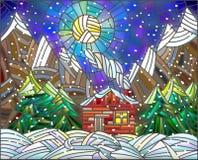 Ejemplo del vitral con el edificio abstracto en el fondo del cielo, del sol, de montañas y de la nieve stock de ilustración