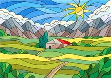 Ejemplo del vitral con el paisaje, empleando un fondo de campos y de montañas ilustración del vector