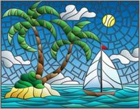 Ejemplo del vitral con el paisaje marino, isla tropical con las palmeras y un velero en un fondo del océano, del sol y de c ilustración del vector